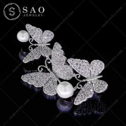 Phụ kiện cài áo nữ đàn bướm lớn bạc 925 cao cấp CA77