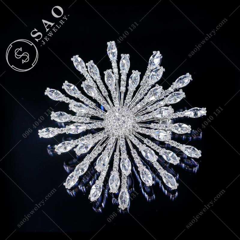 Cài áo hàn quốc bạc 925 bông tuyết cao cấp CA360T