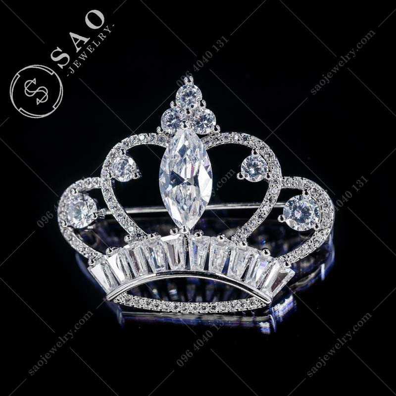 Cài áo hàn quốc vương miệng bạc 925 cao cấp CA362