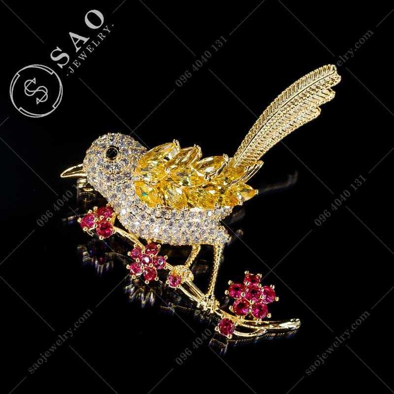 Cài áo hàn quốc chim mạ vàng đính cao cấp CA365V