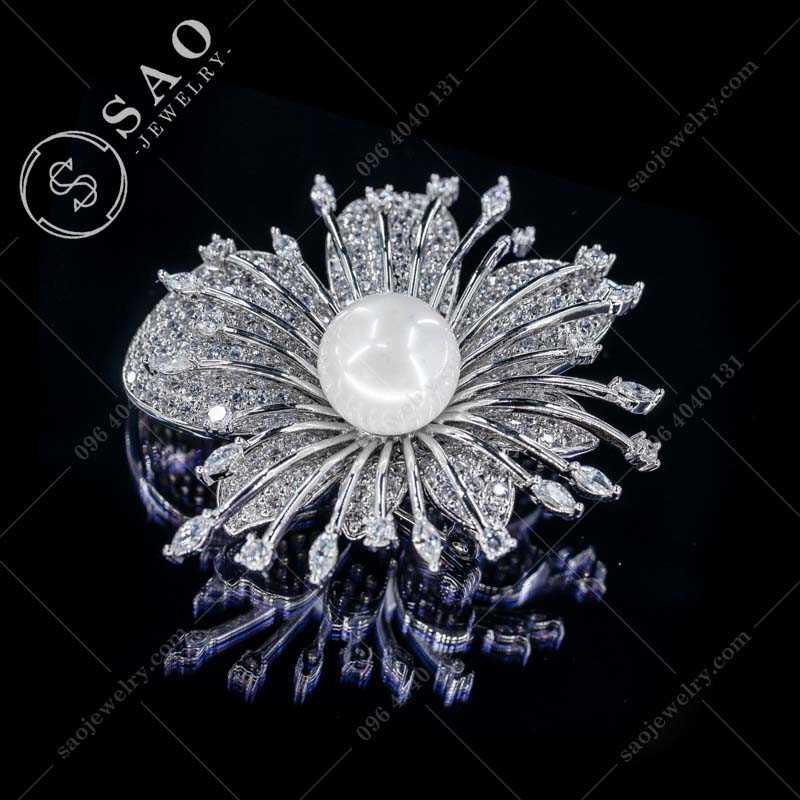 Cài áo hàn quốc bông hoa nở rộ bạc 925 cao cấp CA367