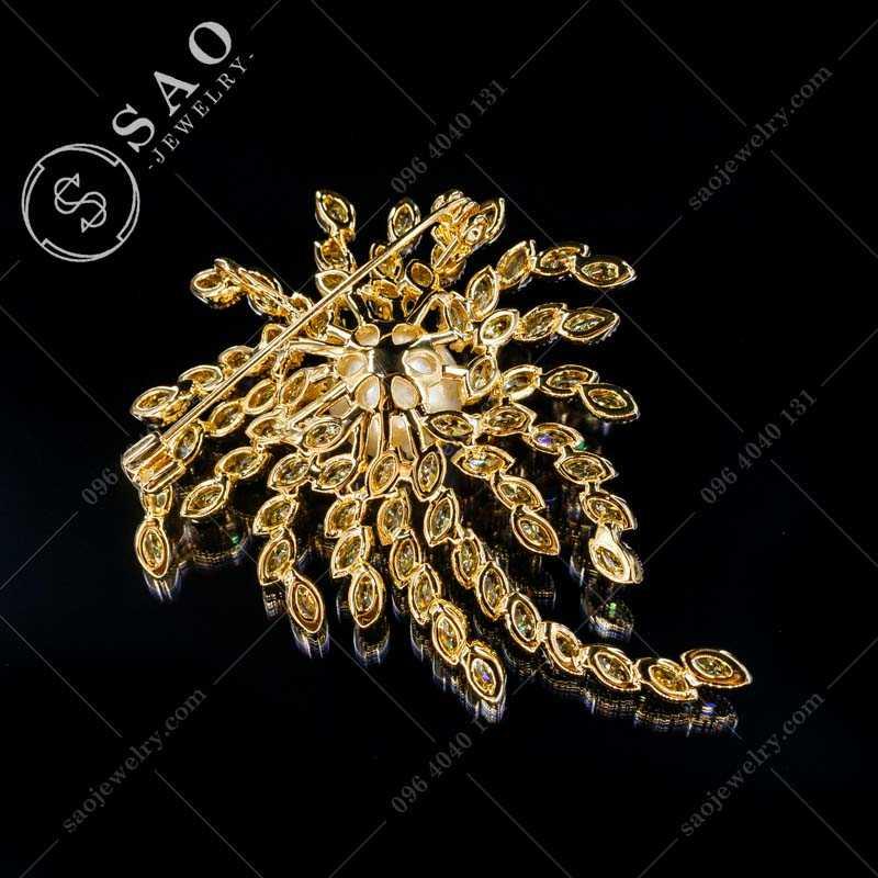 Cài áo hàn quốc cây đính đá mạ vàng cao cấp CA380