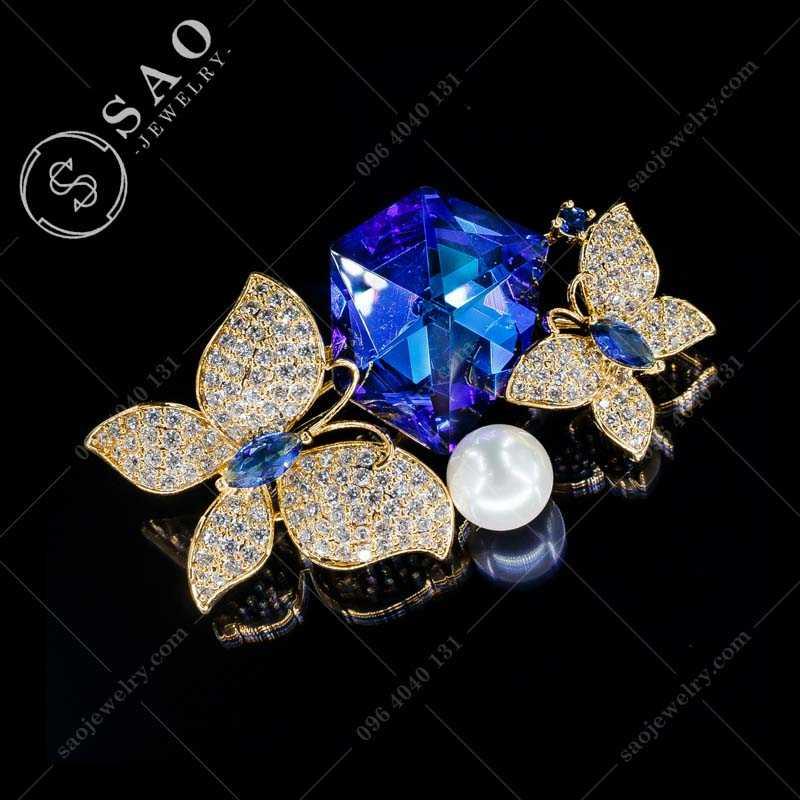 Cài áo pha lê đôi bướm mạ vàng cao cấp CA299