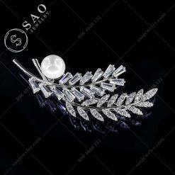 GHIM CÀI ÁO đôi lá bạc 925 hàn quốc