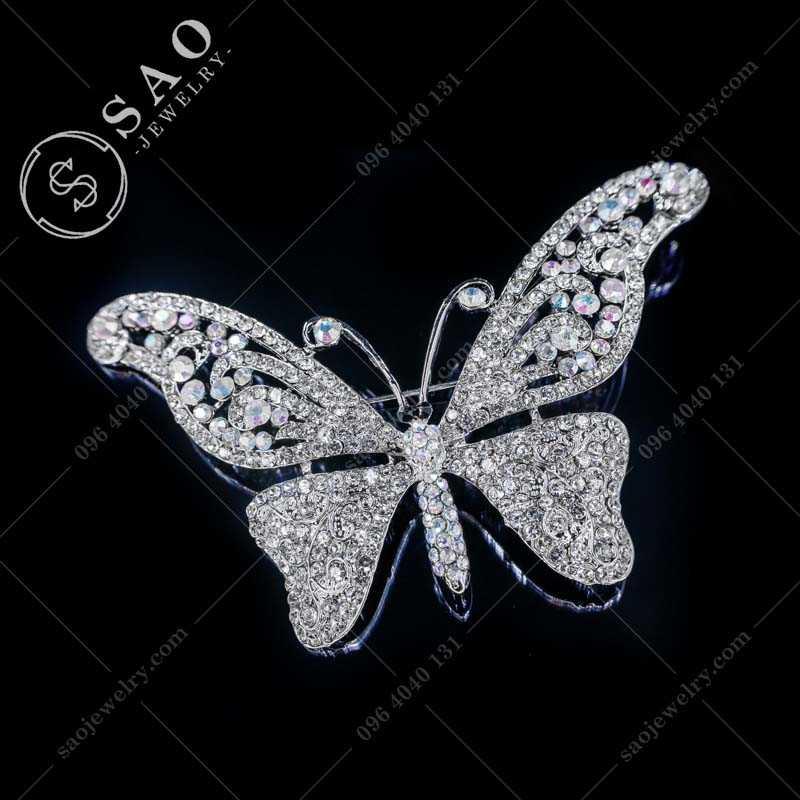 GHIM CÀI ÁO VEST NỮ bướm đính đá cao cấp CA31