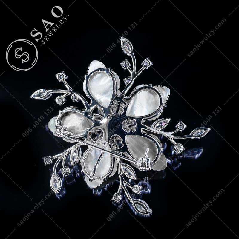 Hoa cài áo vỏ sò bạc 925 cao cấp CA371