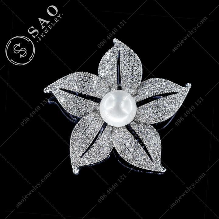 Hoa Cài Áo Đính Ngọc Trai Cao Cấp CA515
