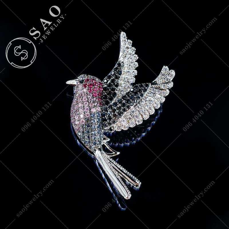 Phụ kiện cài áo chim đính đá bạc 925 hàn quốc CA373