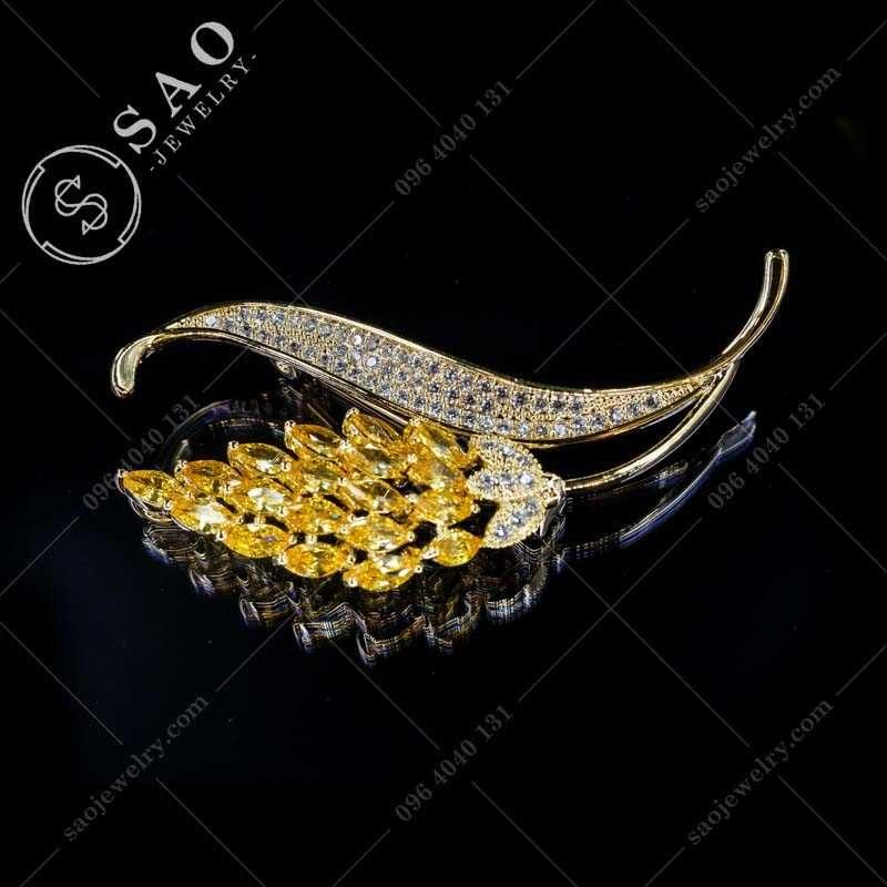 Phụ kiện cài áo bông lúa mạ vàng hàn quốc CA379